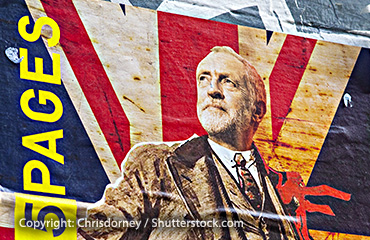 Painting of Jeremy Corbyn in front of Union Flag