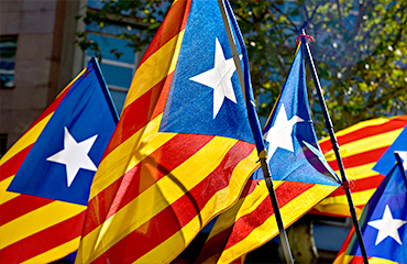 Estelada, the flag of Catalan nationalists